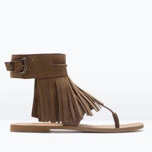 Zara fringe leather sandal